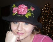 RESERVED LISTING - Felted Flowered Hat