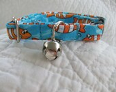 Clown Fish on Blue  Cat  Collar Breakaway  Custom Made