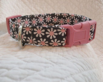 Grey with flowers and with pink buckle Dog Collar  Custom Made
