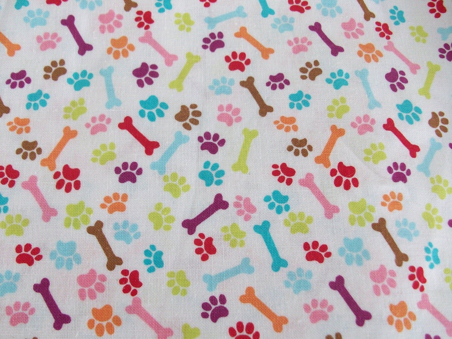 Paw Print And Dog Bone Cotton Fabric 1 2 Yard