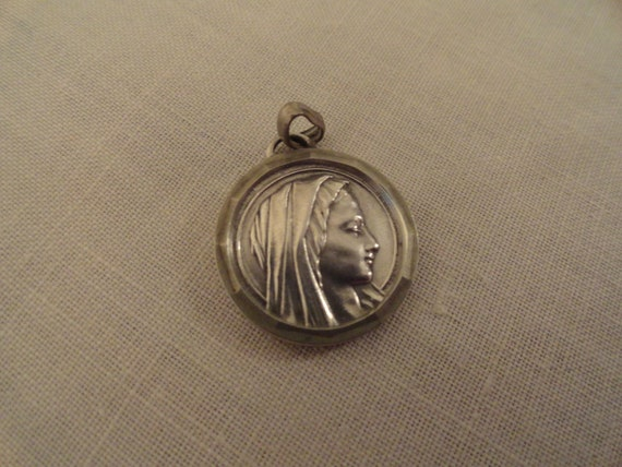 LOVELY VIRGIN MARY French Charm Large Silver 3D Catholic Religious