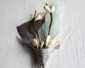 EMERSON Boutonniere in Greige, Mint Cloud, and Antique Blush