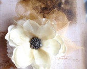 Soft ivory and pale golden magnolia hair clip. Crystal rhinestone center with alligator clip.  Ready to ship.
