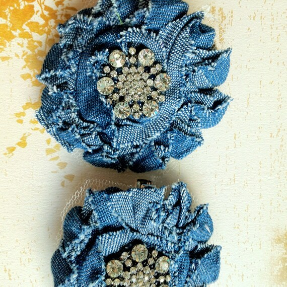 Shabby chic blue jean rhinestone hair clip for girls, teens, women. Rhinestone jean chic accessory.