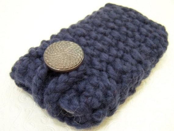 Knit Blue Smartphone Case, Knit Phone Case, Knit IPhone Cozy, Blue Knit Phone Sleeve, Phone Cozy