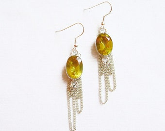 Citrine Earrings, Yellow Statement Earrings,  Citrine Birthstone Handmade Earrings