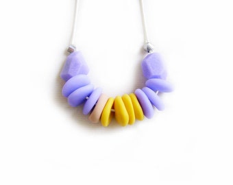 Geometric Pastel Necklace, Purple Yellow Polymer Clay Beaded Necklace