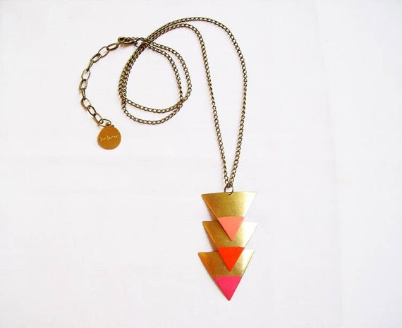 Triangle Geometric Necklace - Color Dipped Minimalist Arrow Handmade Necklace in Raw brass