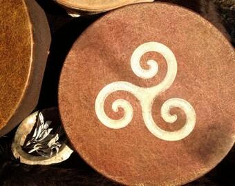 "TRISKELION SPIRAL Three Realms - Native American style shamanic drum with signature totem & symbology artwork - 14"" diameter"