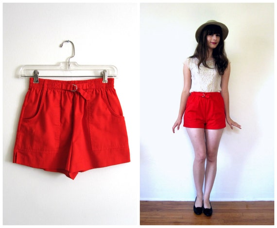 Vintage Red Pin Up Shorts // High Waisted // xs - s