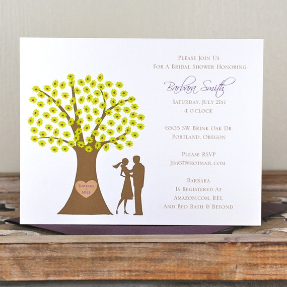 Bridal Shower Invitations, Bridal Shower, Trees, Wedding, Sihlouettes,  Outdoor Wedding, Affordable Wedding