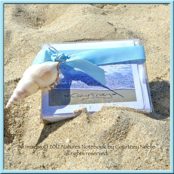 Personalized Stationary - Unique Thank You Cards- A Perfect Gift - Names Written In Real Beach Sand and Turned into a note card set.