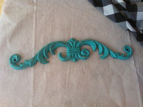 Teal/Turquoise Distressed Cast Iron Wall Decor Over