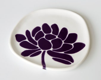 ready to ship - ceramic plate - lotus flower in deep purple