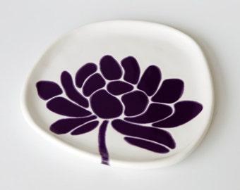 ready to ship - ceramic plate - lotus flower in deep purple