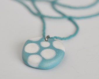 ceramic pendant and beaded necklace - dots in white and robin's egg blue