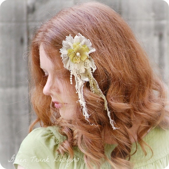 Green Faerie Hair Clip Tattered Lace Extension Bride Bridesmaid Fairy