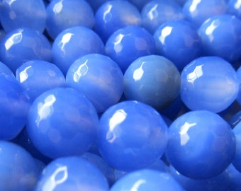 Agate Beads Faceted Round Beads 6mm Royal Blue - 8 inch Strand