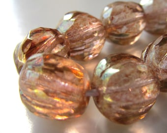 Czech Glass Beads 10mm Faceted Picasso Peach Pink Melons - 12 Pieces
