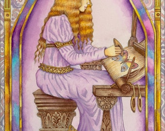 The Weaver - A Fine Art Greeting Card From The Chrysalis Tarot Troupe of Medieval Characters