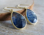 Sapphire blue glass earrings with gold Black Friday Cyber Monday
