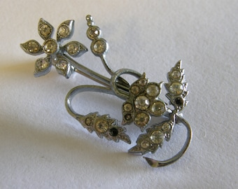 Vintage 1940's silver tone and rhinestone flower brooch made in Czechoslovakia