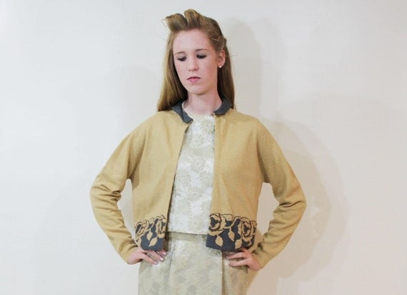 50s Cardigan Sweater Embroidered Flowers Spicy Mustard Wool Medium Large M L Vintage 1950s Yellow