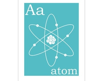 Children's Wall Art / Nursery Decor A is for Atom 8x10 inch print by Finny and Zook