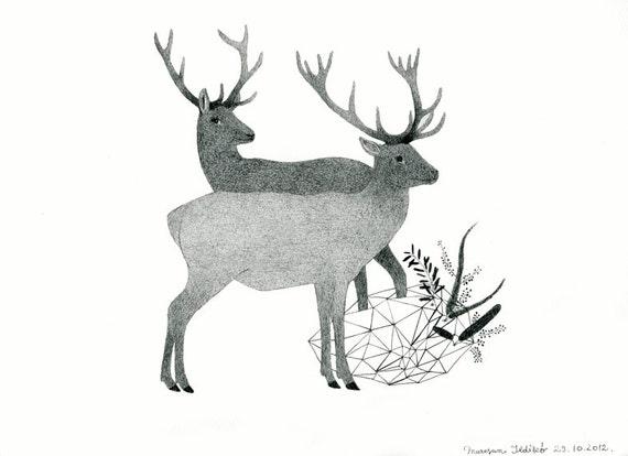 Deers, Original Pencil Drawing, Wall Art, Deer and Stag, Woodland Wedding, Deer Lover Gift, Wildlife, September Trends, Animal Couple, 鹿圖