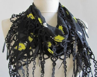 chiffon scarf - black scarf - woman scarves - women chich scarf - long scarf - wholesale scarf