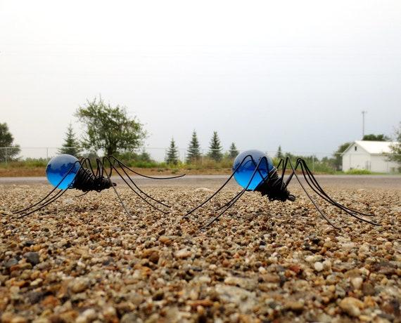 Twin Beautiful Blue Spiders Repurposed Art