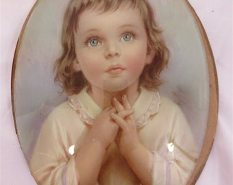 Vintage Victorian Angel Child Cameo Print Picture Under Domed Glass