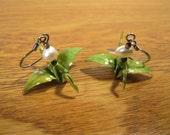 Lime Green Origami Crane Earrings w/ Pearl