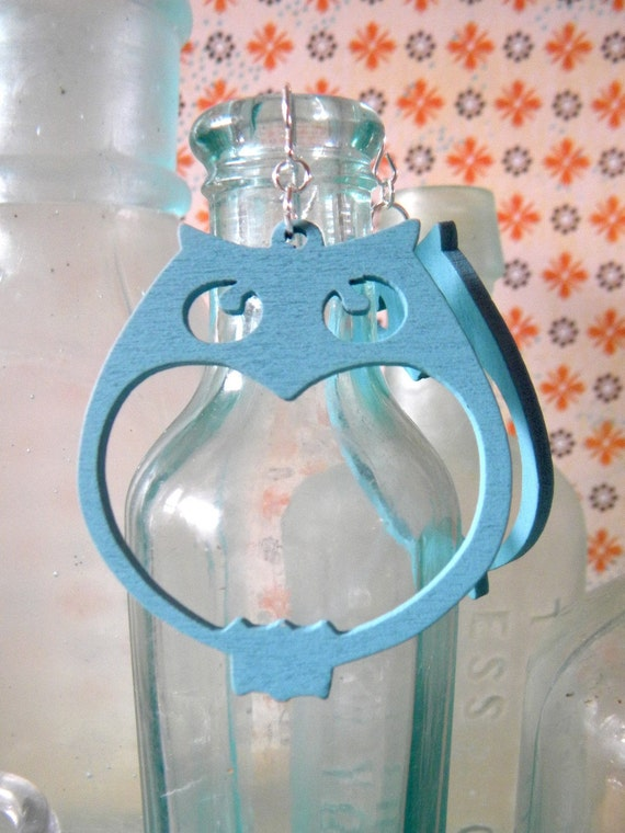 Aqua Owl Earrings