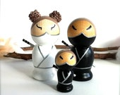 NINJA Family of 3 Wedding Cake Toppers 3D Personalized Semi Custom Wood Japanese Style Kokeshi Dolls Bride and Groom Ninja Themed Wedding