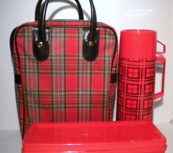 Vintage Thermos Set With Tartan Plaid Case