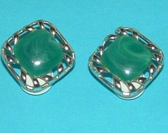SALE SALE CORO signed Green on Goldtone earrings