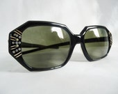 50s Vintage Art Deco Rhinestone Striped Square Horn Rim Sunglasses Frames Eyewear from May USA