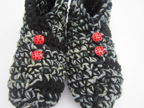 Crocheted Slippers in Gray and Black - Size Large with Ladybug Buttons