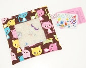 LAST ONE - Peek A Boo Kitty in Brown-I Spy Bag  One of a kind design-Several coordinating fabrics-Hours of Fun-Word and Photo Card Included