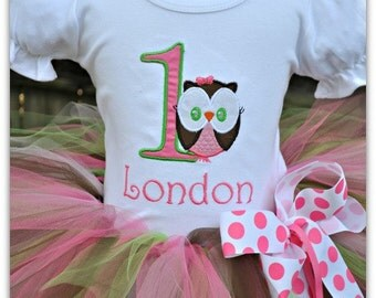 Owl Tutu Birthday Outfit Green, Brown,  and Pinks