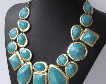 Blue Turquoise and Gold Jewel Bib- Bridal Necklace by Ashlee Collection on Etsy