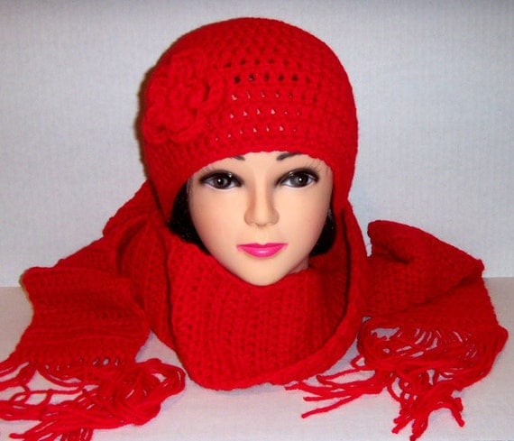Hat and Scarf Set In Red, Womans Accessories Set, Crochet Scarf And Hat