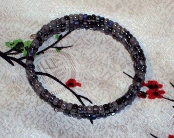 SHADES OF GRAY Mix Glass Seed Beads - Memory Wire Wrap Coil Bracelet