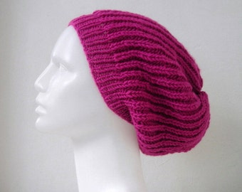 Knit Slouchy Hat, Fuschia Pink Winter Hat