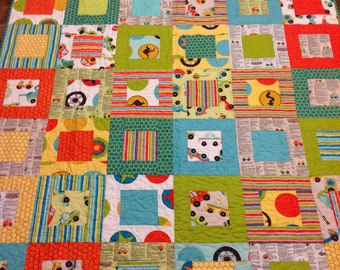 Baby Boy Toddler Crib  Quilt in Peak Hour by Riley Blake Designs -- orange aqua cars transportation