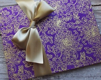Wedding Guest Book, Purple and Gold Flowers, MADE upon ORDER