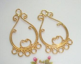 Bali Artisan 24K Vermeil Lovely Chandelier, Handmade Sterling Silver Jewelry Art - 10 pcs - 8% off- CC-0006