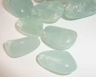 Aquamarine Blue Smooth Nuggets Beads, Drilled, 4 pcs, Sparkling Dreamy Color