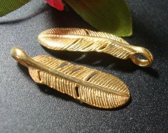 Bulk 10 pcs, 24 x 7.5 x 1.5 mm, Bali Artisan, 24K Vermeil Feather Pendant Charm, earrings, dangles